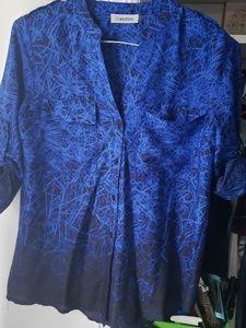 Calvin Klein Blue/Black Button Work Blouse